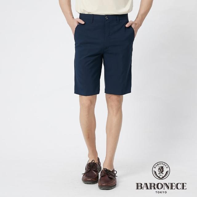 【BARONECE 百諾禮士】男裝 彈性合身平口休閒短褲--藍色(1188965-39)