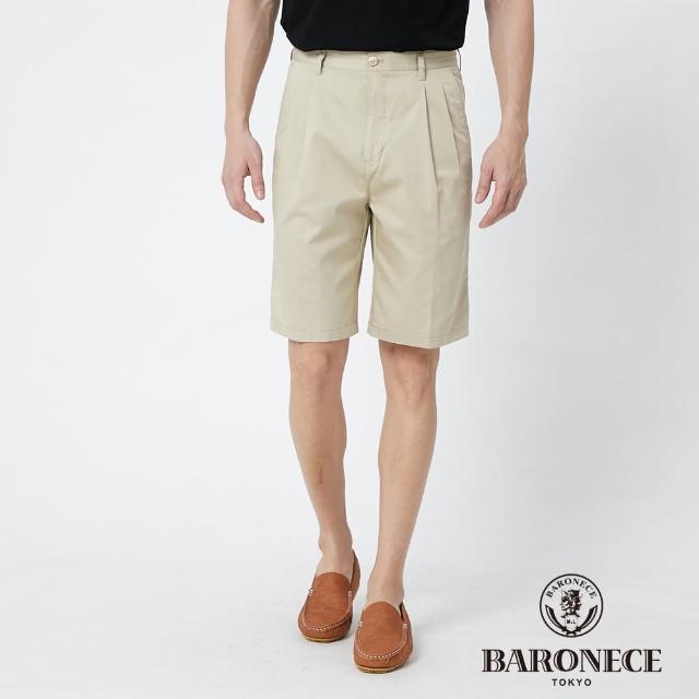 【BARONECE 百諾禮士】男裝 天絲縲縈彈性打褶休閒短褲--卡其色(1188969-84)