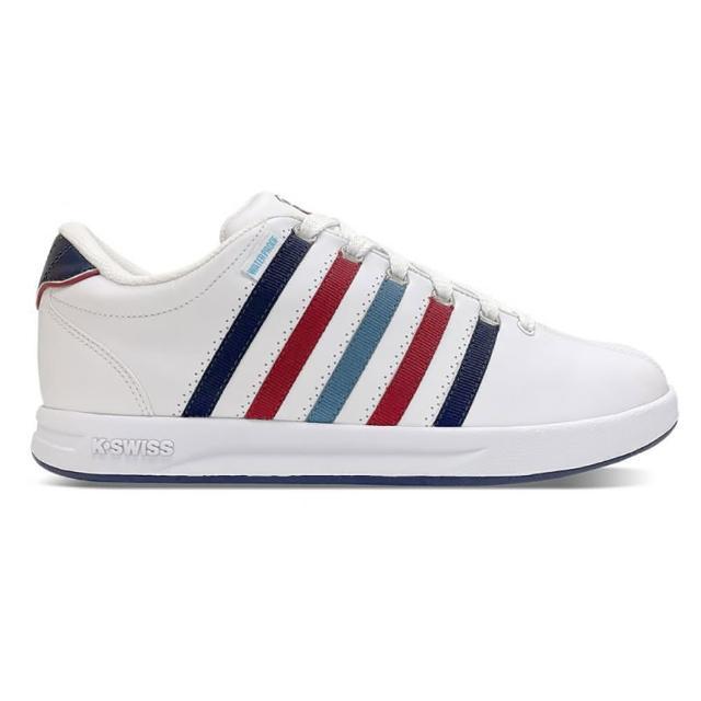 【K-SWISS】防水時尚運動鞋 Court Pro S WP 男 白 藍 紅(07122116)