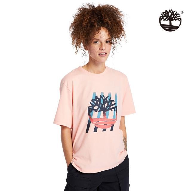 【Timberland】女款蜜桃粉漸層樹型LOGO寬鬆T恤(A2FYCBC3)
