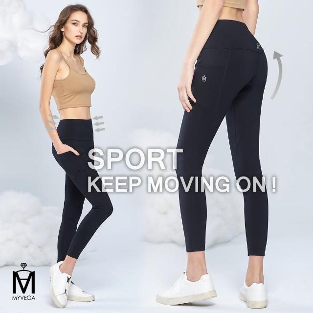 【MYVEGA 麥雪爾】MA高彈力高腰收腹運動瑜伽貼腿褲-黑