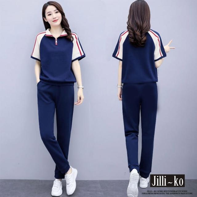【JILLI-KO】兩件套運動風休閒套裝-F(杏/深藍)