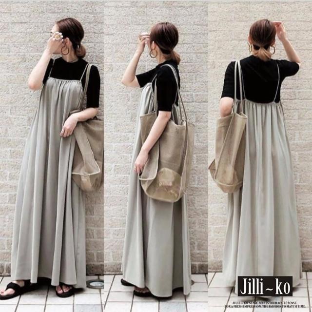 【JILLI-KO】日系吊帶款連衣裙-F(杏)