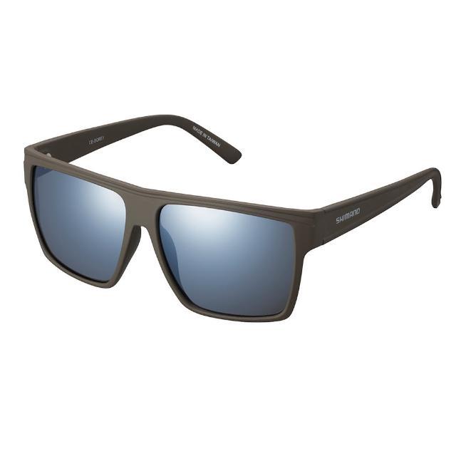 【SHIMANO】SQUARE 太陽眼鏡 霧面橄欖鏡框(銀色煙燻鏡面鏡片)