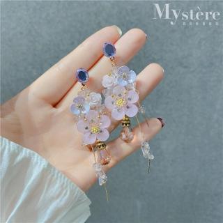【my stere 我的時尚秘境】925銀針~韓國粉紫花朵水鑽垂墜造型耳環(925銀針 氣質 垂墜 小臉 水鑽 時尚)