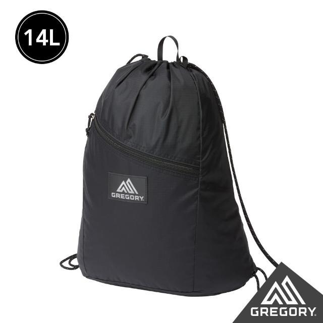 【Gregory】LOGO 拉鍊 束口後背包(黑)