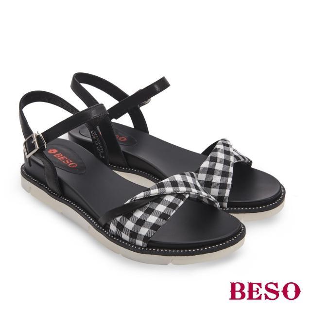 A.S.O 阿瘦集團【A.S.O 阿瘦集團】BESO時尚流行 不敗格紋百搭平底涼鞋(黑)