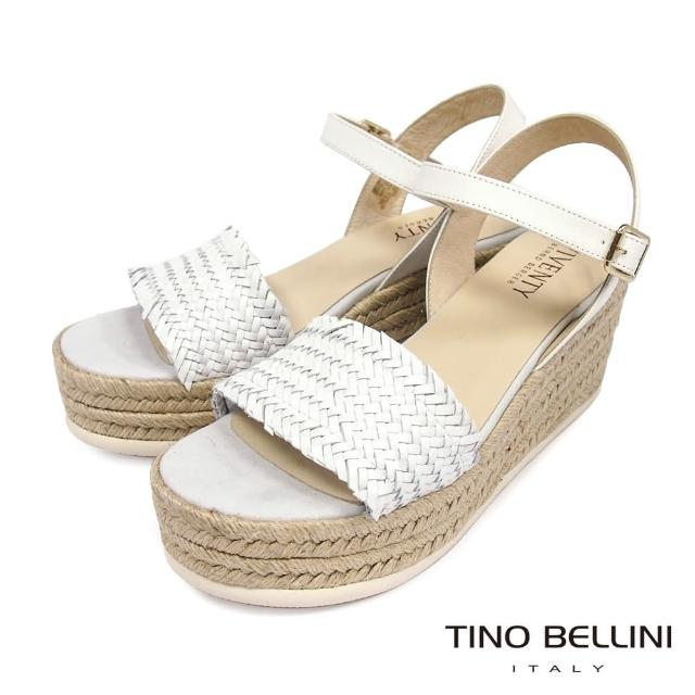 【TINO BELLINI 貝里尼】西班牙進口典雅小牛皮編織草編楔型涼鞋FOV0009(白)