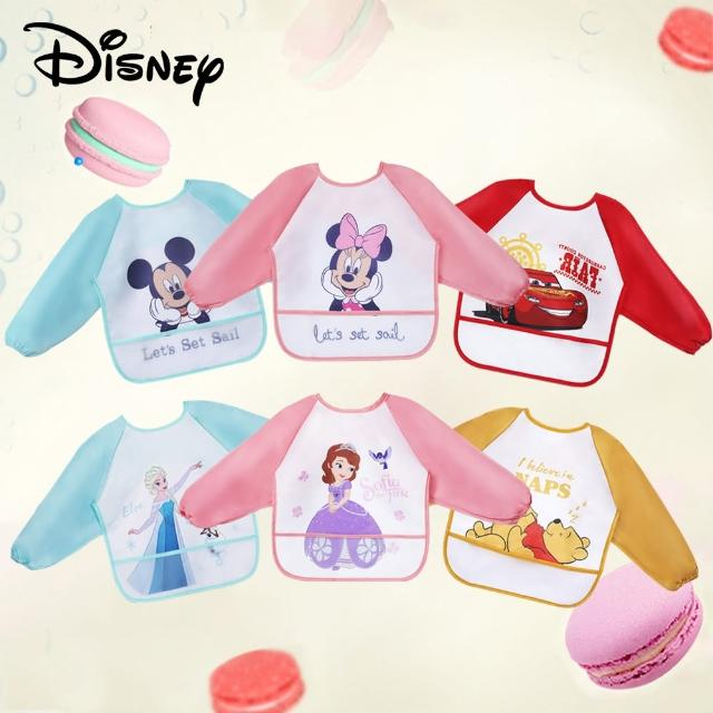 【Disney 迪士尼】寶寶柔軟舒適罩衣 兒童吃飯圍兜 防水耐髒圍巾(米奇米妮小熊維尼閃電麥坤冰雪奇緣蘇菲亞)