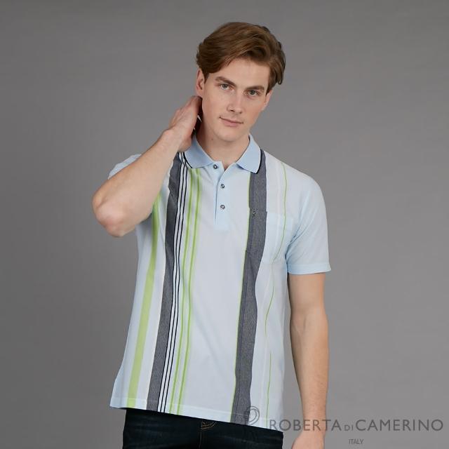 【ROBERTA 諾貝達】台灣製 型男休閒時尚穿搭 短袖POLO棉衫(淺藍)