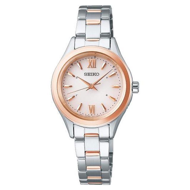 【SEIKO 精工】SPIRIT太陽能電波腕不鏽鋼錶-玫瑰金28mm(SWFH112J/1B21-0AS0KS)