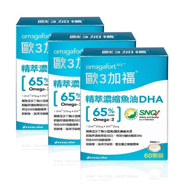 【Om3gafort 歐3加福】精萃濃縮魚油DHA 3入組(60顆X3)