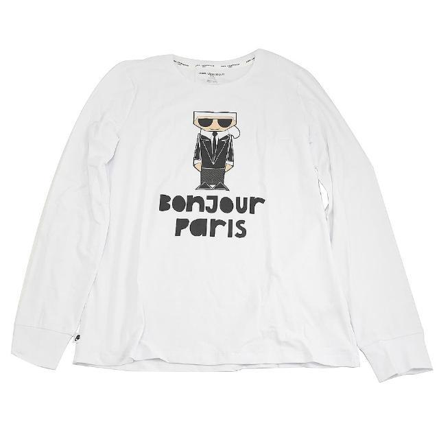 【KARL LAGERFELD 卡爾】老佛爺 經典設計款 卡爾公仔個性長袖T恤(白)