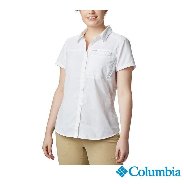 【Columbia 哥倫比亞】女款-UPF50快排短袖襯衫-白色(UAR26540WT / 快排.防曬.休閒)