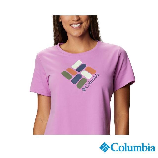 【Columbia 哥倫比亞】女款- LOGO快排短袖上衣-紫色(UAR31230PL / 快排.運動.戶外)
