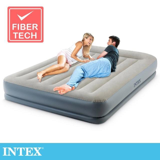 【INTEX】舒適雙層內建電動幫浦fiber tech雙人加大充氣床墊-寬152cm-有頭枕(64117ED)
