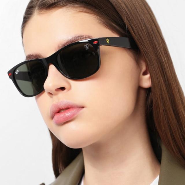 【RayBan 雷朋】RAY BAN 雷朋 限量法拉利聯名款太陽眼鏡 RB2132M F601/31 55mm 黑框墨綠鏡片 公司貨