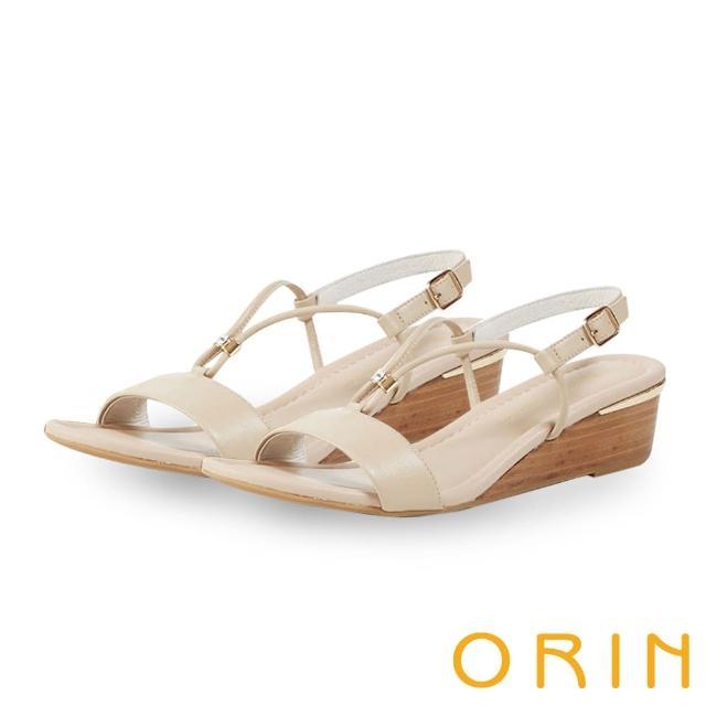 【ORIN】真皮V字金屬楔型 女 涼鞋(裸色)
