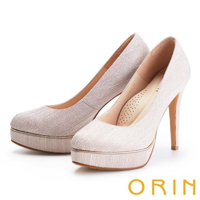 【ORIN】閃耀金蔥金屬花嫁 女 高跟鞋(粉金)