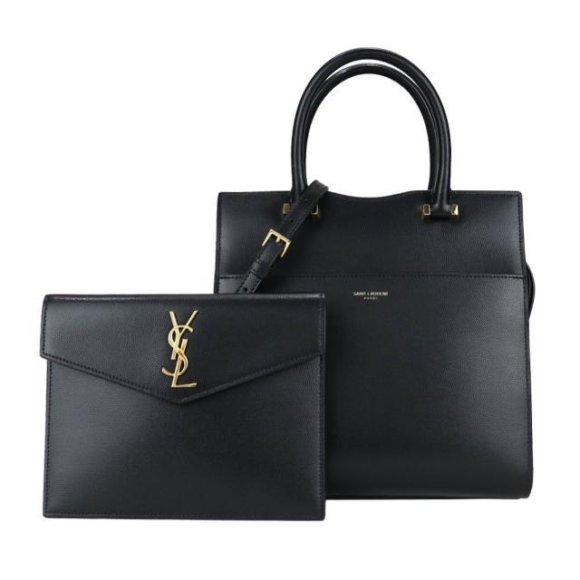 【YSL】UPTOWN系列粒面牛皮信封式口袋托特/兩用包(黑)