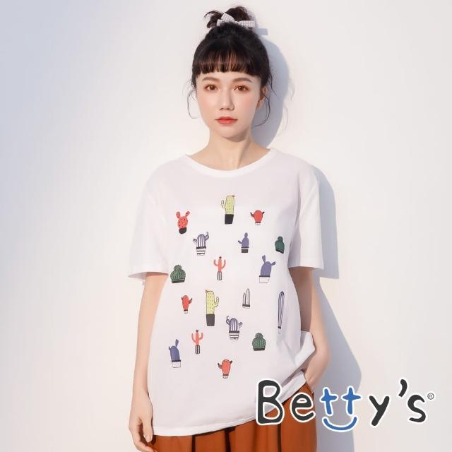 【betty's 貝蒂思】仙人掌印花圓領拼布T-shirt(白色)