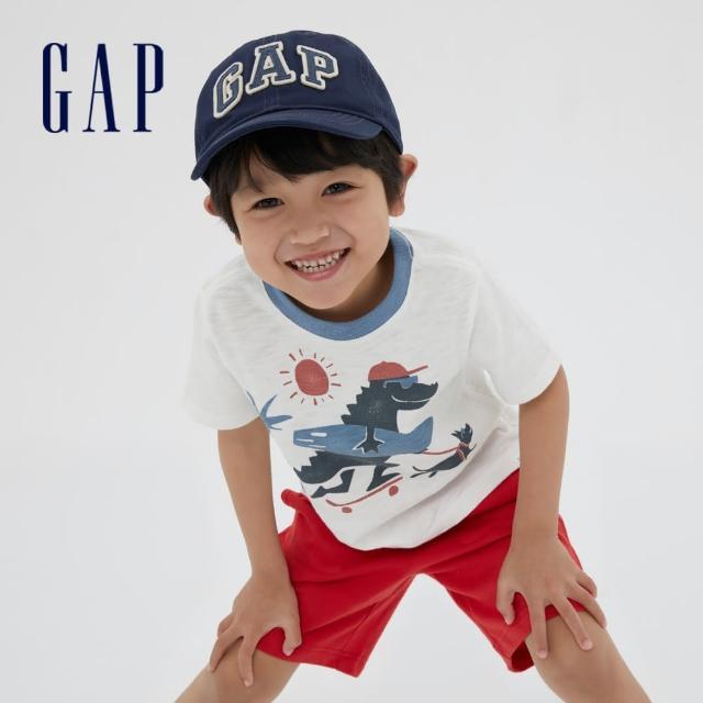 【GAP】男幼童 可愛恐龍印花短袖T恤(687930-白色)