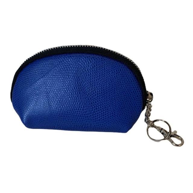 【Continuita 康緹尼】頭層牛皮零錢包/化妝包/印章包-藍色(手拿小包/零錢包/化妝包)