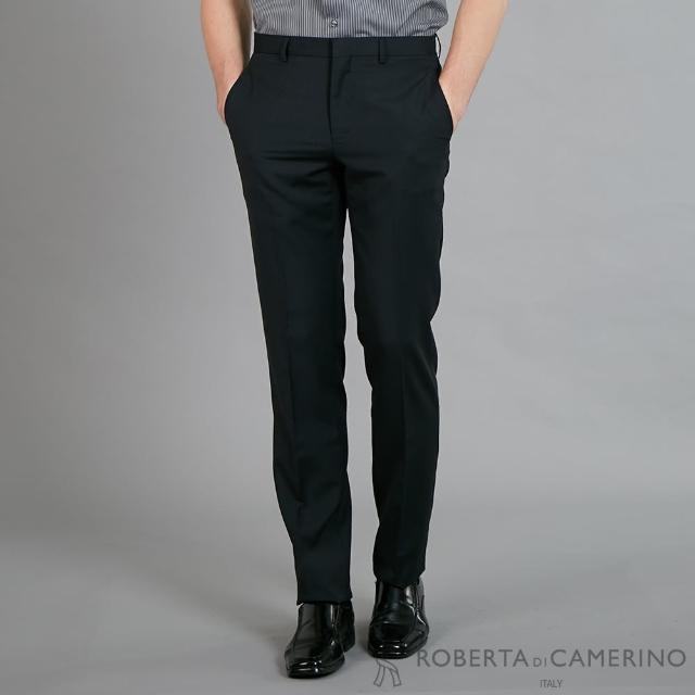 【ROBERTA 諾貝達】合身版 紳士型男 平面西裝褲(鐵黑)