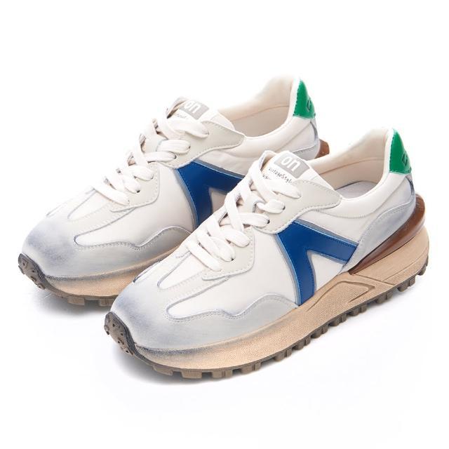 【Camille's】韓國空運-正韓製-牛皮拼拼側V字洗舊阿甘慢跑球鞋(灰色/藍色)