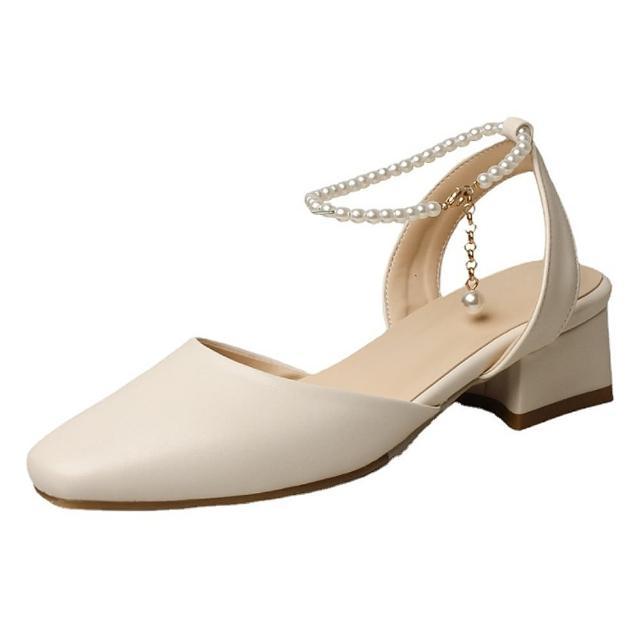 【Sp house】優雅美感全真牛皮珍珠粗跟包頭涼鞋(2色可選)