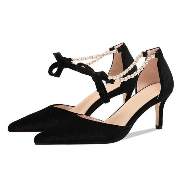 【Sp house】時尚美型絨面尖頭珍珠一字扣細跟涼鞋(2色可選)