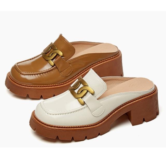 【Sp house】華麗環扣全真羊皮包頭厚底穆勒鞋(2色可選)