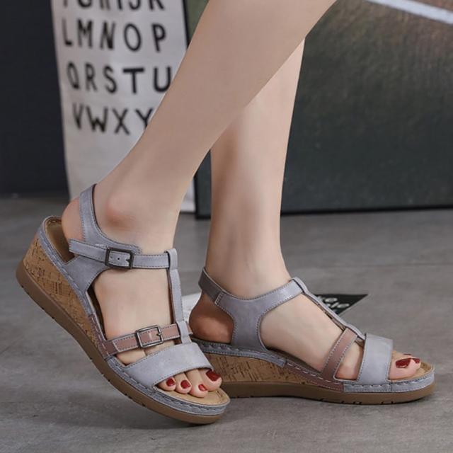 【LN】現+預 歐美風扣帶拼色涼拖鞋(拖鞋/涼鞋/休閒鞋)