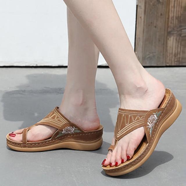 【LN】現+預 民族風刺繡套趾涼拖鞋(拖鞋/涼鞋/休閒鞋)