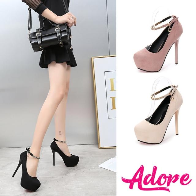 【ADORE】高跟跟鞋 鑽飾跟鞋/淺口小圓頭絨面美鑽繫帶造型14CM性感高跟鞋(2色任選)