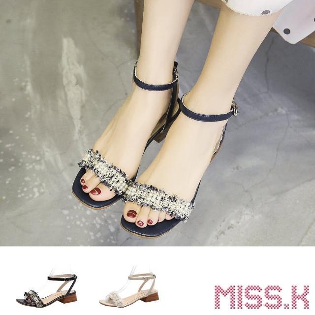【MISS.K】粗跟涼鞋 一字涼鞋/典雅珍珠抽鬚方頭一字造型粗跟涼鞋(3色任選)