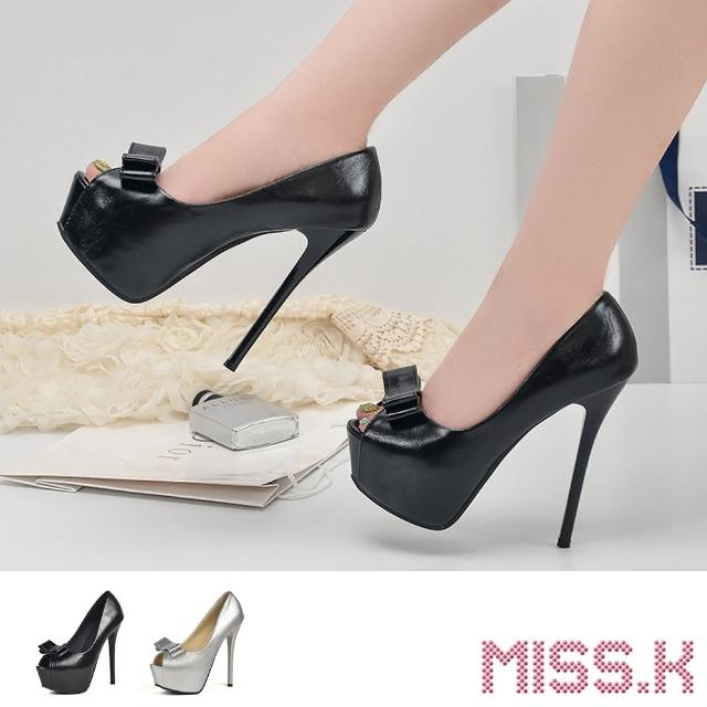 【MISS.K】魚口跟鞋 露趾跟鞋/珠光亮皮立體蝴蝶結魚口露趾防水台14CM性感高跟鞋(2色任選)