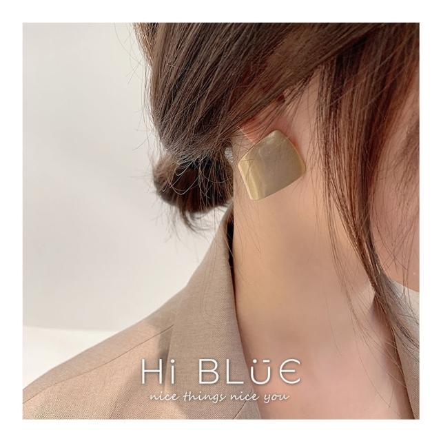 【HaNA 梨花】韓國歐美印象几何.不規則霧金塊狀氣勢耳環