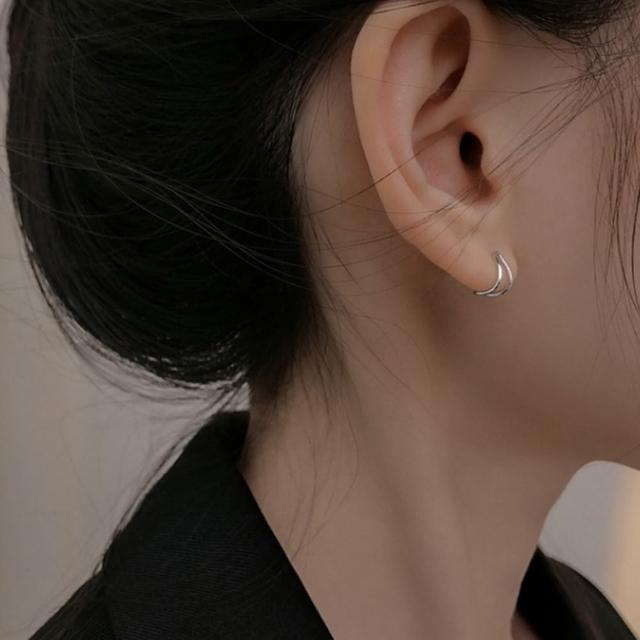 【HaNA 梨花】韓國小資女孩簡單不凡.雙線彎勾耳環