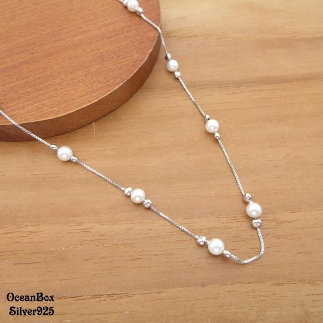 【海洋盒子】漂亮優珍珠串珠造型925純銀項鍊(925純銀外鍍專櫃級正白K.珍珠項鍊)
