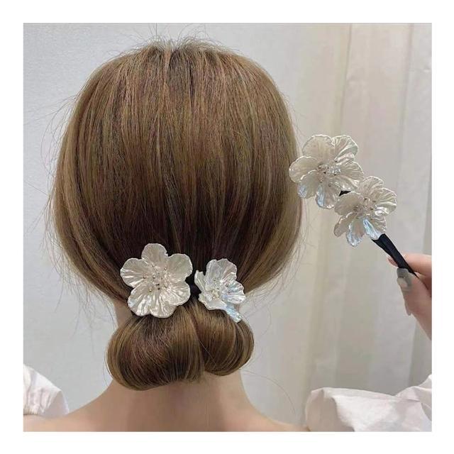 【HaNA 梨花】韓國迷人凝望.珍珠花卉盤髮棒盤髮器包包頭