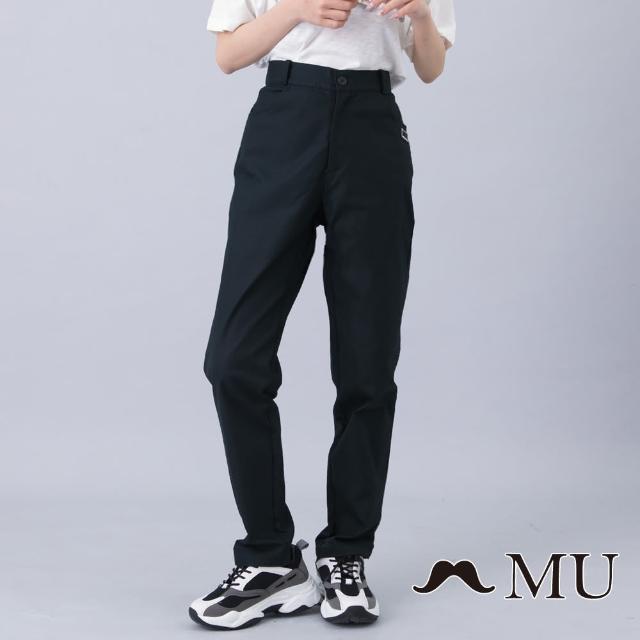 【maru.a】MU 顯瘦剪裁LOGO刺繡百搭長褲(黑色)