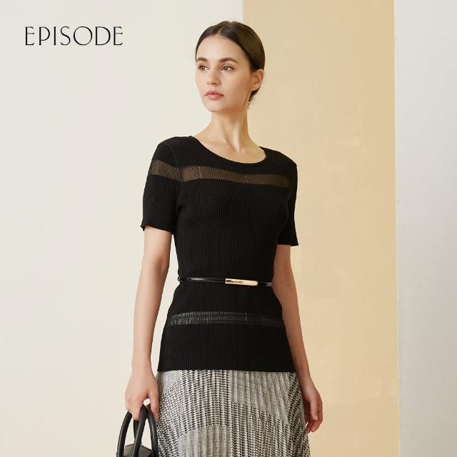 【EPISODE】簡約百搭柔軟親膚圓領短袖針織衫(黑/藍)