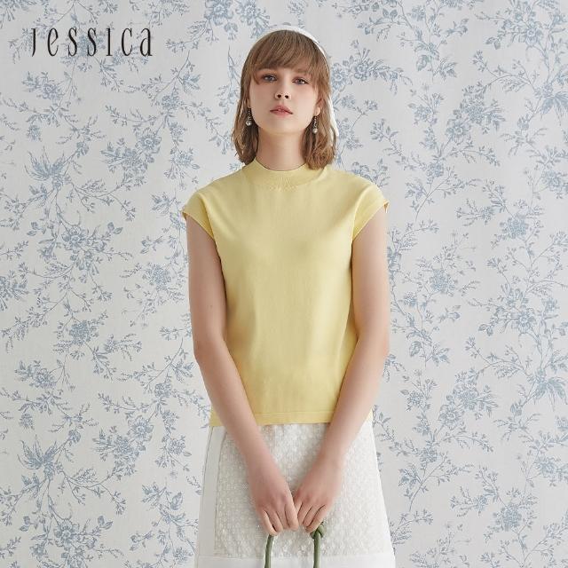 【JESSICA】親膚透氣舒適百搭優雅無袖針織衫(黃)