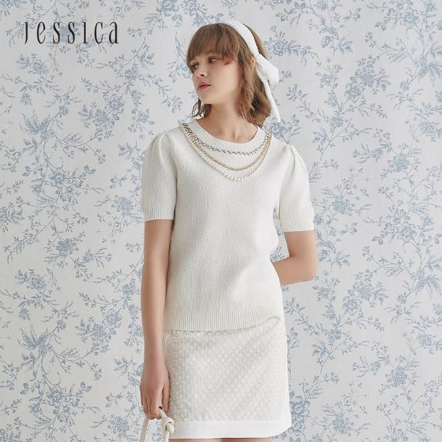 【JESSICA】精美立體紋理百搭圓領短袖針織衫(白)