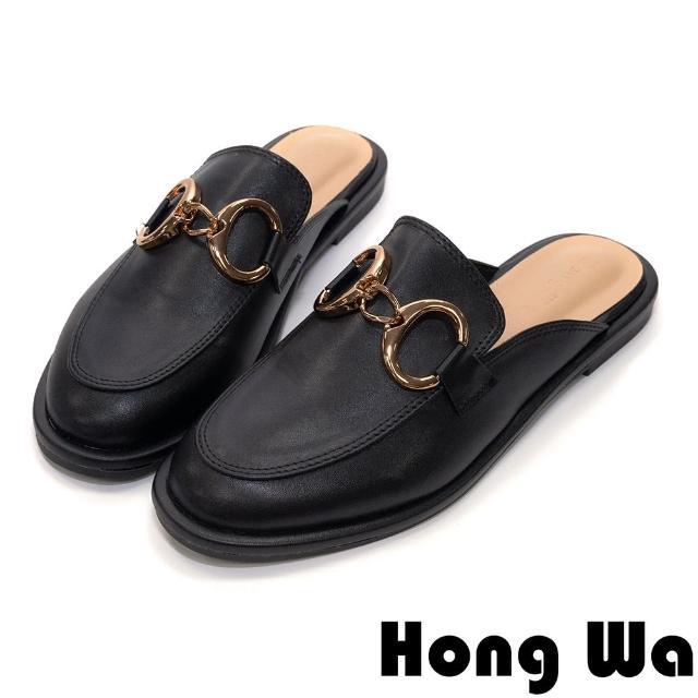 【HongWa】春日愜意•金屬扣環穆勒鞋(黑)