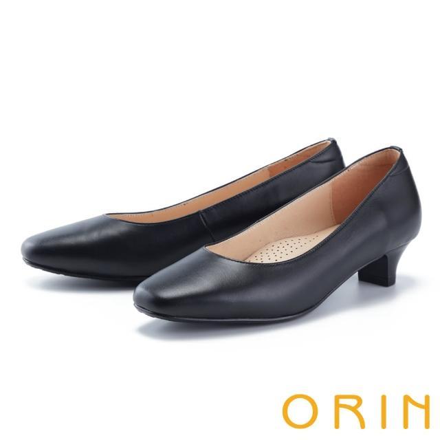 【ORIN】百搭素面舒適真皮 女 中跟鞋(黑色)