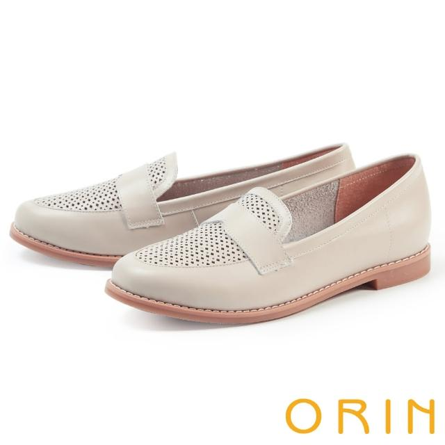 【ORIN】趣味穿孔真皮平底 女 樂福鞋(可可)