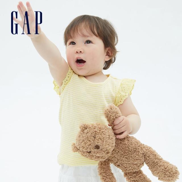 【GAP】女幼童 甜美鏤空花邊袖T恤(681235-黃色條紋)