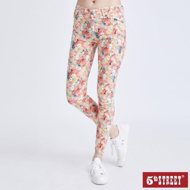 【5th STREET】女彈性小碎花窄管褲-桔色